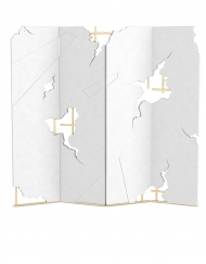 Hurricane is a contemporary Folding Screen made of polished brass and lacquered wood by Bitangra Furniture Design