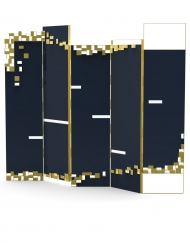 Jinga is a contemporary folding screen made of lacquered wood, acrylic and brushed brass by Bitangra Furniture Design