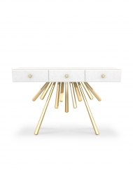 Amber is a contemporary console table made of lacquered wood and polished brass by Bitangra Furniture Design